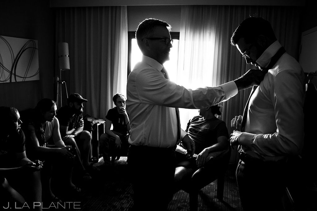 groom getting ready for Greenbriar Inn microwedding