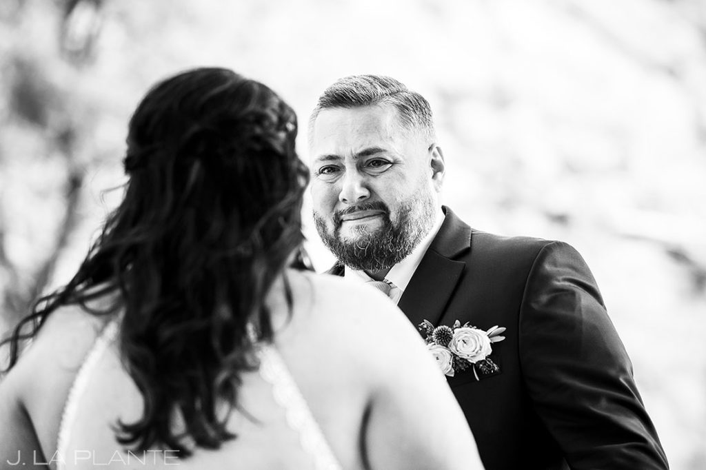 bride and groom first look at summer wedding at Planet Bluegrass