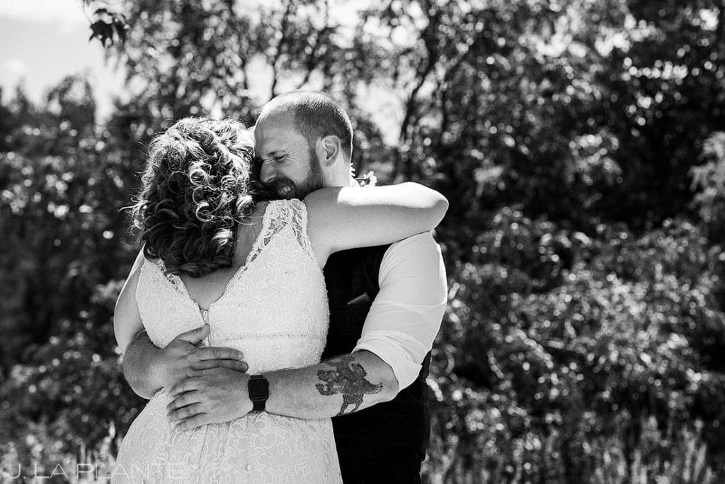 first look between bride and groom at Boulder microwedding