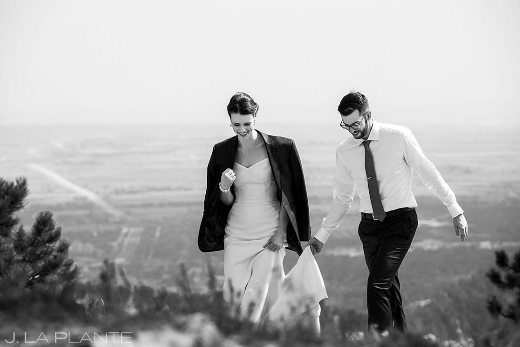 bride and groom hiking before wedding ceremony