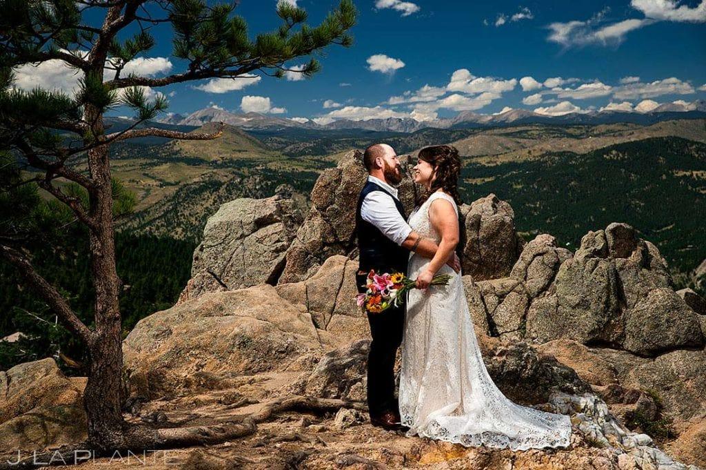 portrait of bride and groom at Boulder microwedding