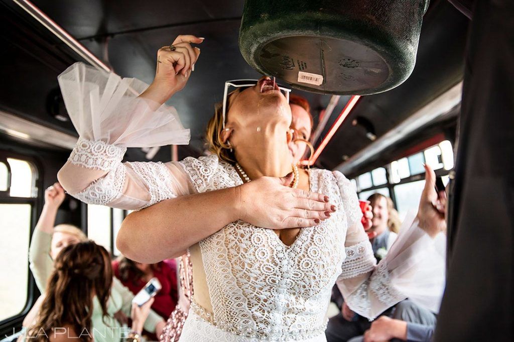 wedding party on party bus at Montana destination wedding