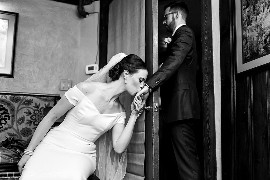 bride and groom first touch at Greenbriar Inn microwedding