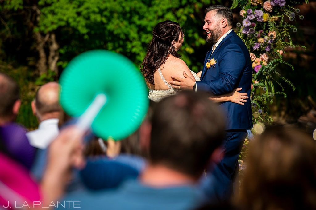 outdoor wedding ceremony summer wedding at Planet Bluegrass