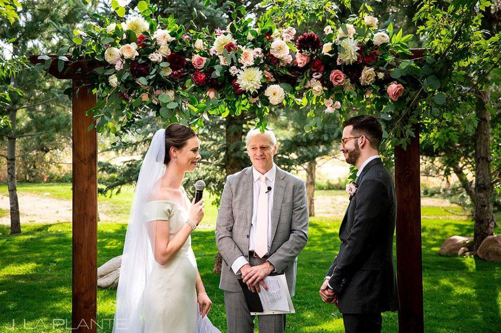 bride and groom vows at Greenbriar Inn microwedding