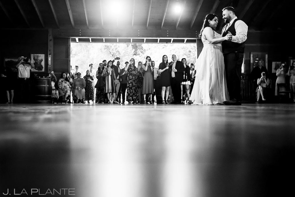 bride and groom first dance at summer wedding at Planet Bluegrass