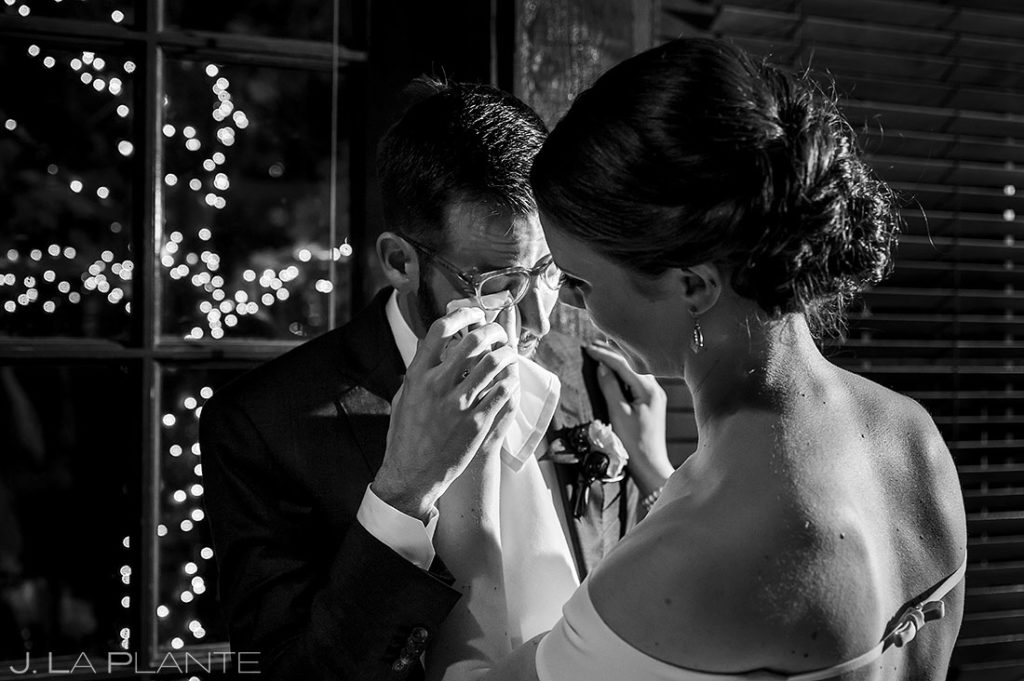 groom crying during toasts at Greenbriar Inn microwedding