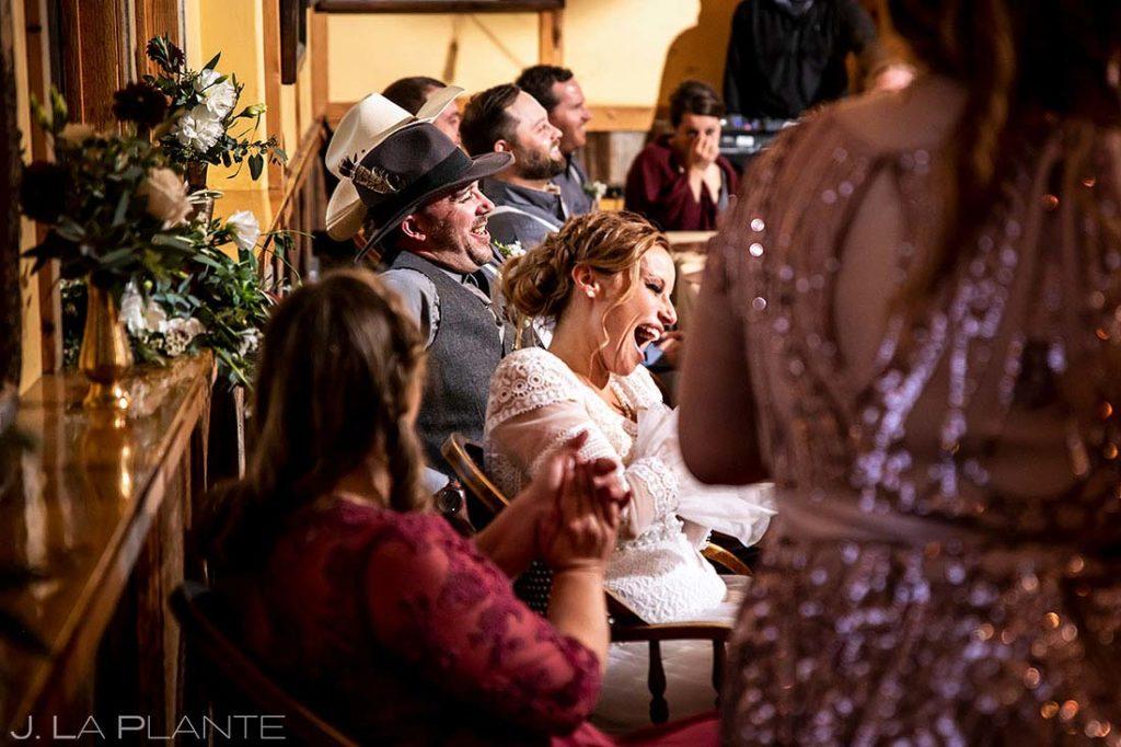 wedding toasts at Montana destination wedding