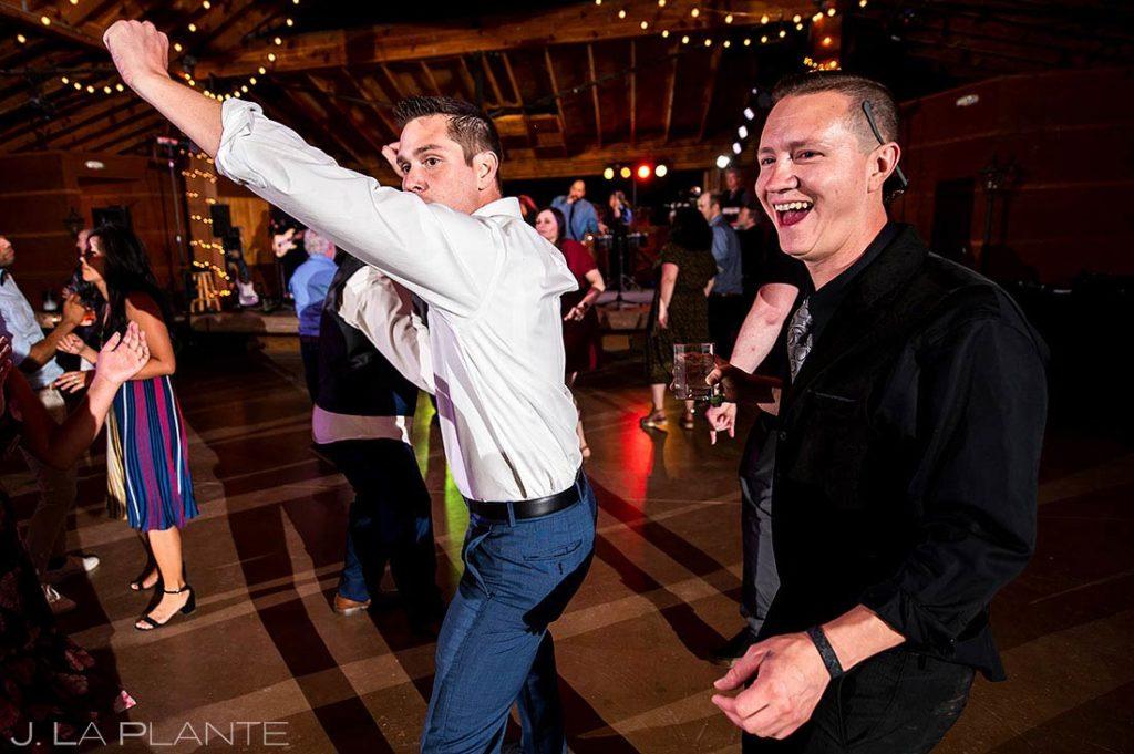 wedding guests dancing at summer wedding at Planet Bluegrass