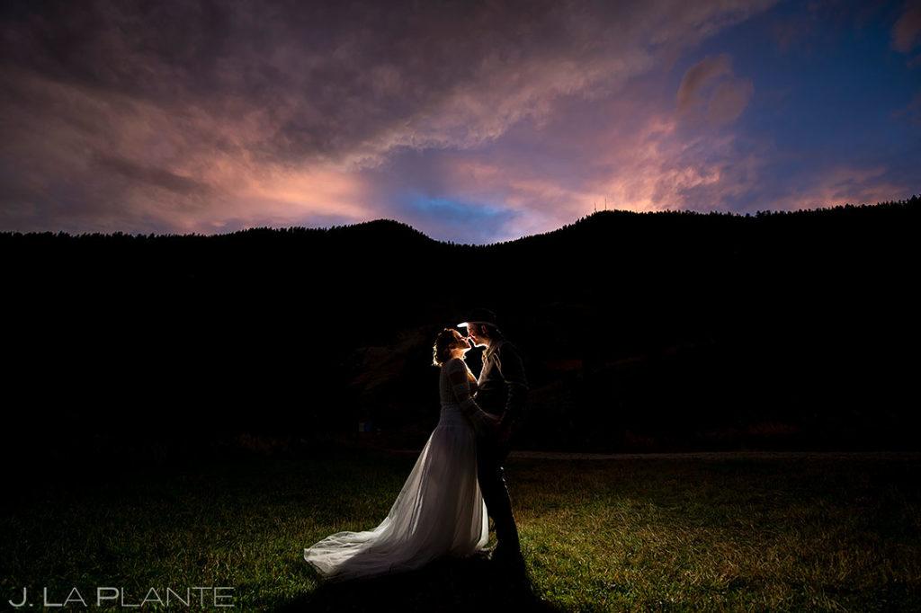 sunset portrait of bride and groom at Montana destination wedding