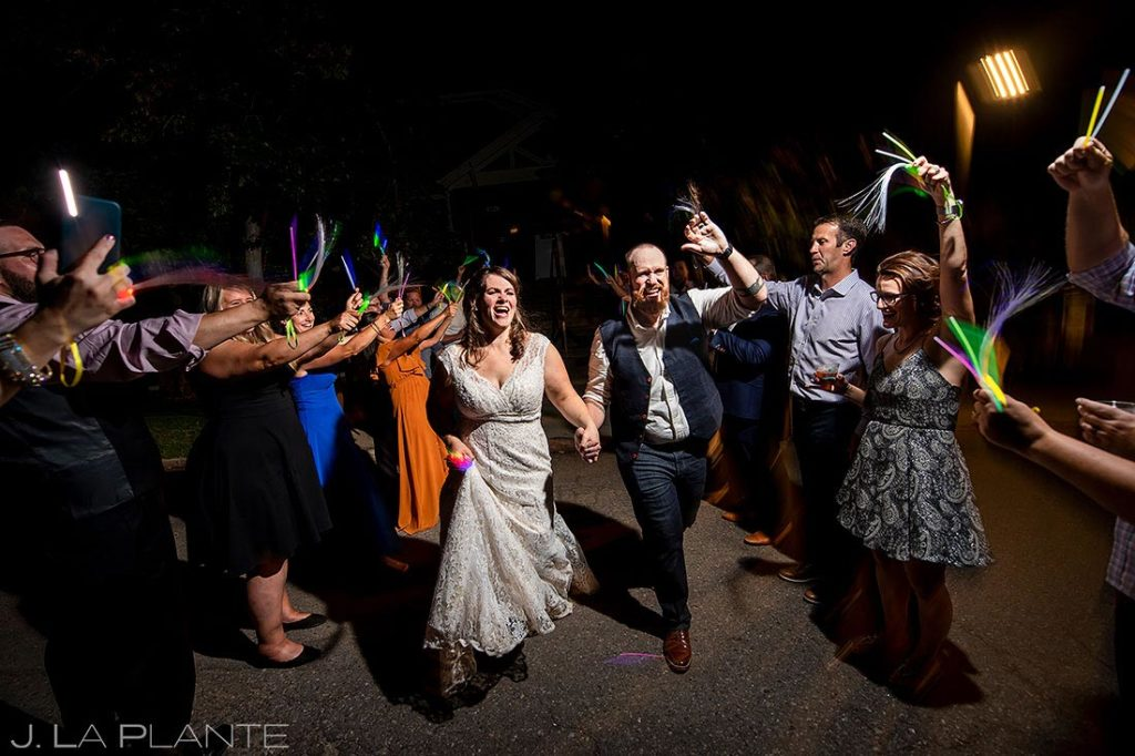 bride and groom glow stick send off