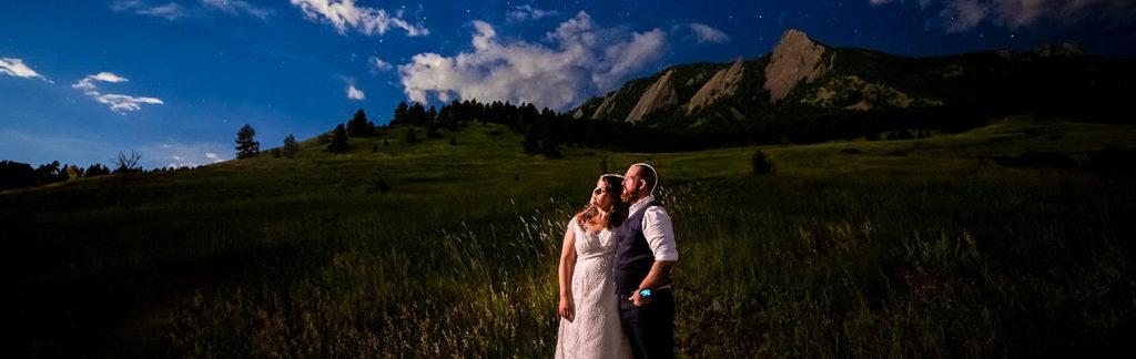 bride and groom under the stars in Colorado