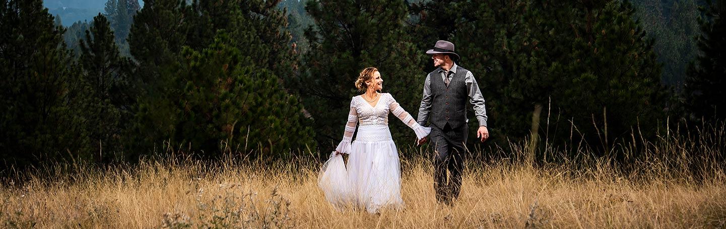 bride and groom portrait at Montana destination wedding