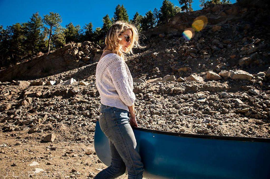 bride to be at reservoir in Boulder Colorado