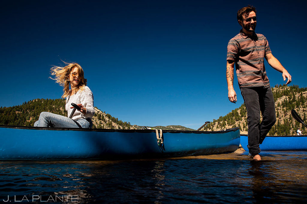 bride and groom to be at reservoir in Boulder Colorado