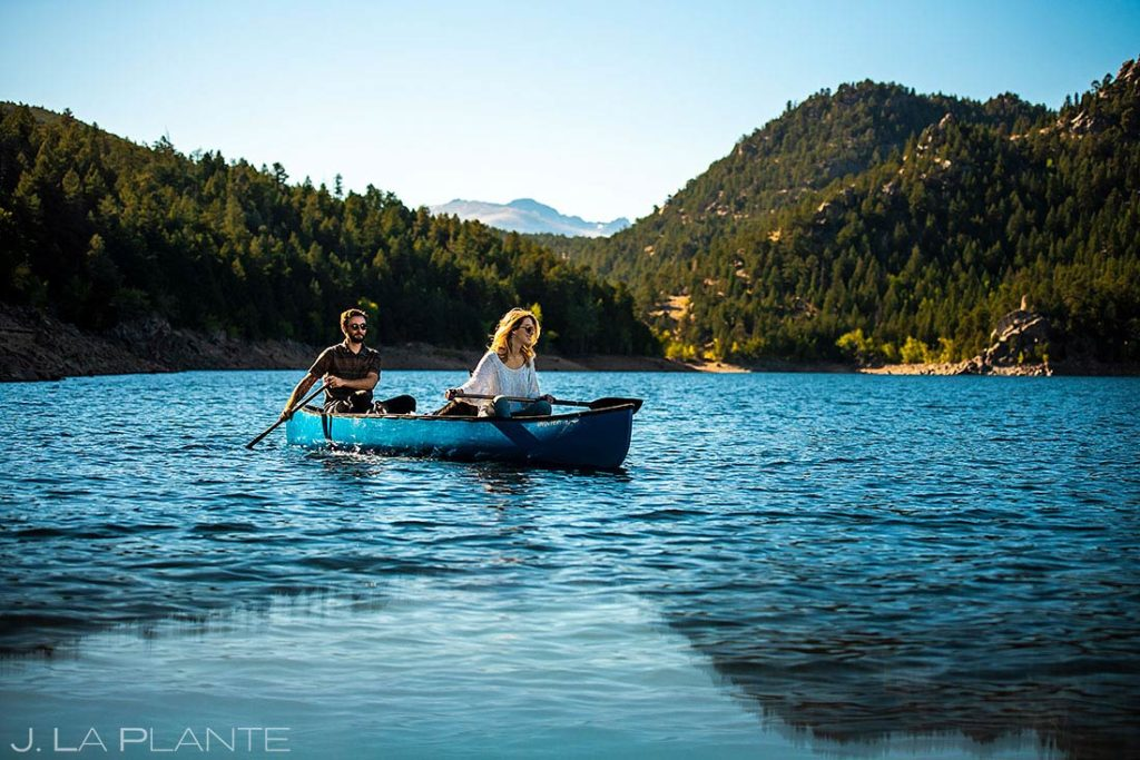 canoeing engagement session with dogs in Boulder Colorado