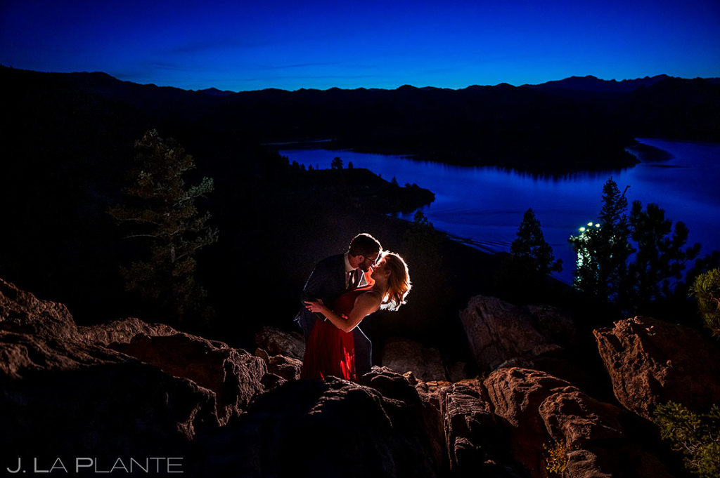 blue hour portrait of bride and groom to be at Gross Reservoir